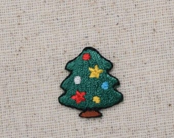 Small - Mini - Christmas Tree - Stars and Ball Ornaments - Iron on Applique - Embroidered Patch - 155192