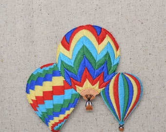 Three Hot Air Balloons - Colorful - Embroidered Patch - Iron on Applique - 695429A