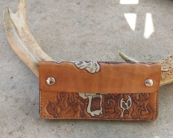 Skull & Flames Tan Leather Wallet