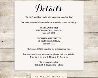 Wedding Accommodation Card Template Geccetackletartsco - Free wedding accommodation card template