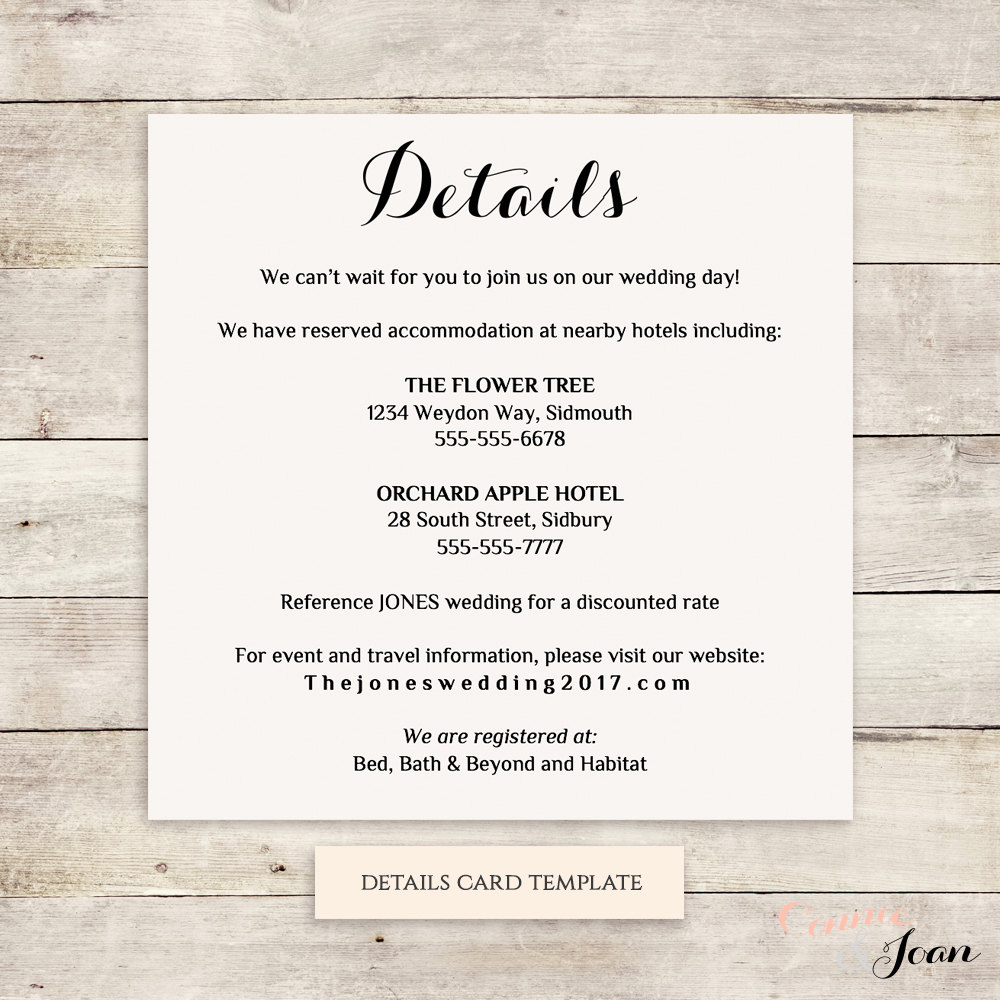 printable wedding information details template info card. Black Bedroom Furniture Sets. Home Design Ideas