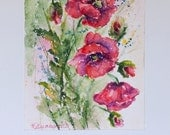 Watercolour Greetings Card, unique birthday card, Poppy Watercolor, flower note cards, Greeting Card, Watercolor cards, Poppy painting, art