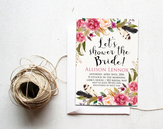 Boho Chic Wedding Invitations: Boho Chic Bridal Shower Invitation Printable Summer Wedding