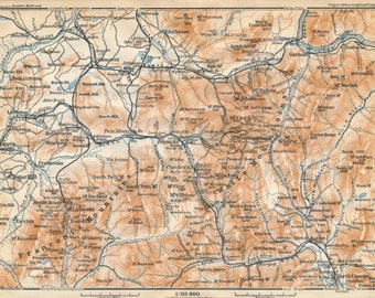 1909 White Mountains New Hampshire Antique Map