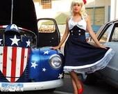 Navy Sailor Rockabilly Pin Up Nautical Dress