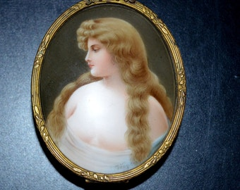 Porcelain Portrait Plaque Box Asti Girl Signed Wagner Bronze Base