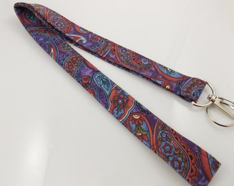 Teacher Lanyard Paisley Lanyard Persian Lanyard Bohemian Lanyard ID Badge Holder  Fabric Lanyard Paisley Key Holder Paisley Key Ring