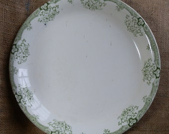 Large English Antique GLOBE POTTERY Deep Serving Plate with Green Floral Transferware Edging, Shabby Chic, Made in England c1920