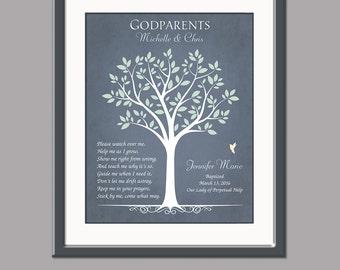 Gift For Godparents - Personalized Gift For Godmother and Godfather - Baptism Gift For Godparents - Godparents Card - Baptism Keepsake