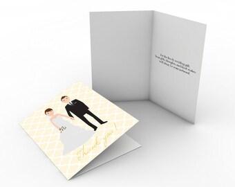 Custom Portrait Illustrated Wedding Thank You Cards