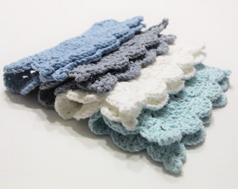Crochet Dishcloth, Denim Crochet Washcloth, Washcloth, Dishcloth, Cotton Crocheted Washcloth, Cotton Dishcloths, Ready to Ship, Gift Set
