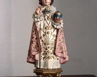 Infant Jesus of Prague Glass Eye Santos Statues Young Jesus Vintage Figure Antique Religious/78
