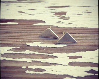 simple studs sterling silver triangular earrings