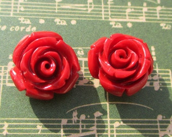 Red rose earrings-flower girl jewelry-Red Rose studs-Rose Posts-Rosette Earrings-Rose bud earrings-Bridesmaids gifts-childrens studs-wedding