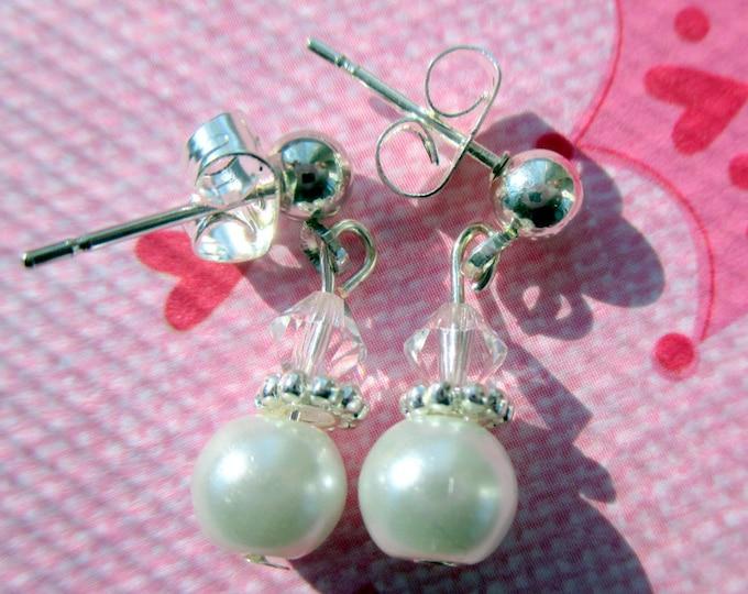 Flower girl earrings-Children's-clip on earrings-girls pearl jewelry-little girls-wedding gifts-sterling silver-Swarovski crystals-childs