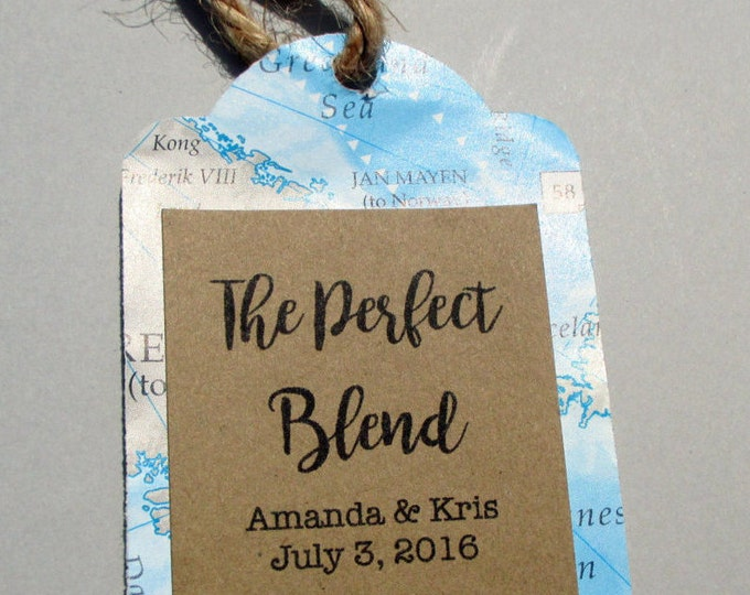 30-The Perfect Blend-Travel Theme Wedding decorations-Personalized atlas map die cuts-map tags-destination party favors-wedding decor-custom