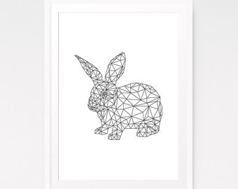 Bunny print, Nursery wall art, Rabbit print, Woodland nursery, Rabbit wall art, Nursery decor, Rabbit art, Nursery animal, Digital download