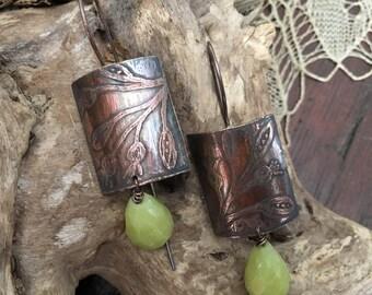 Engraved copper earrings and Jasper lemon.