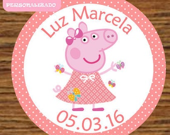 Tags Peppa Pig Butterfly Toppers labels Peppa Pig 12 / Cupcake Toppers Tags