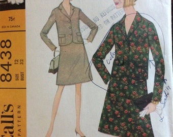 McCalls 8438 - 1960s Suit Set with Jacket and Skirt - Size 12 Bust 32