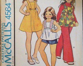 McCalls 4564 - 1970s Little Girl's Dress or Top with Back Bow Tie and Pants or Shorts - Size 8