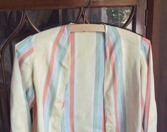 """1920's/30'sAbsol.gorgeous,unusual,orig. ladies striped REAL SILK """"bolero""""jacket+turnover cuffs/no fasteners.NB.very small fitting.One owner."""