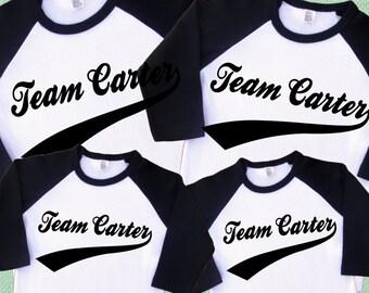 Family Team Shirts. Set of 4 Personalized Raglan Shirts. [Baseball Team Shirts with Swoosh Design, Family Birthday Shirts] (2114)