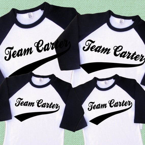 Items Similar To Family Team Shirts Set Of 4 Personalized