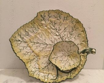 Vintage Portugal Majolica Pottery Cabbage Leaf Serving Tray w/ Bowl, Vintage Faiancas Belo Leaf Shaped Platter