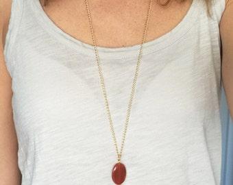 Long gem stone tassel necklace, tassel necklace with carnelian gem stone, brown tassel necklace
