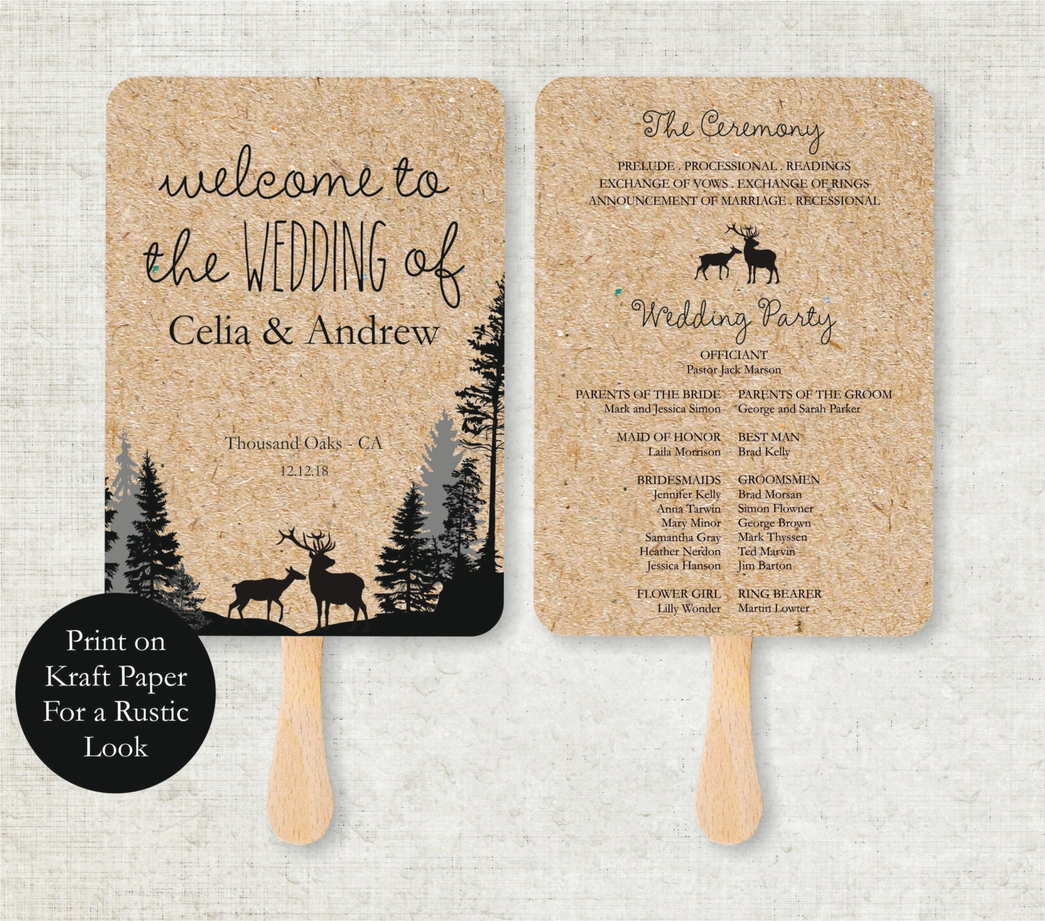 wedding program template rustic deers foldable wedding program