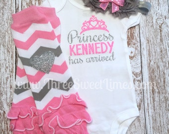 Baby Girl Coming Home Outfit | The Princess Has Arrived Personalized | Baby Girl Outfit | Opt Leg Warmers Bow Set | Pink And Silver Glitter