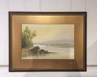 C1950 Reginald Sherrin watercolour of Forder creek Plymouth collectable painting