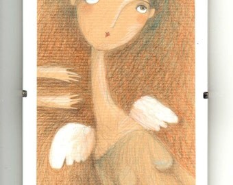 ORIGINAL DRAWING-Angel-Art Decor-warm colors-With Wings