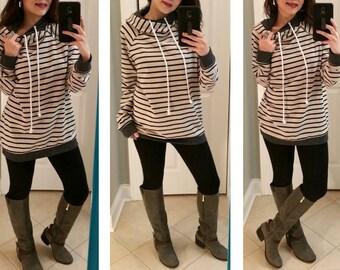 Chic Double Hoodie Sweater, Hooded sweatshirt, Hoodie with zipper, Hoodie with stripes