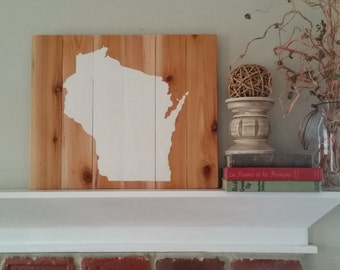 21x17 Wood State Wall Art -Wisconsin, WI  painted silhouette