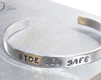 SALE Silver Stamped Cuff - Motorcycle Bracelet - Biker Gifts - Hand Stamped - Motorcycle Jewelry - Engraved Cuff Bracelet - Harley Bracelet