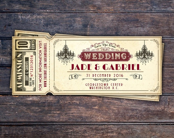 Art DecoVintage Retro Save the Date Ticket Announcement, wedding invitation, wedding shower, old Hollywood , Cinema, retro cinema ticket