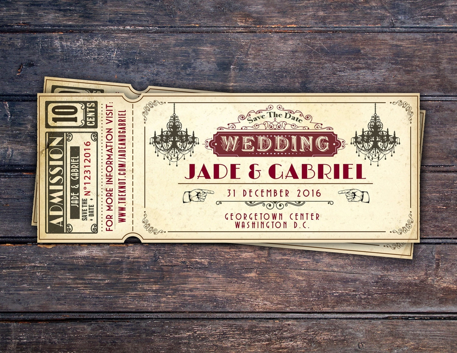 movie ticket stub wedding invitation%0A movie ticket wedding invitations etsy Art DecoVintage Retro Save the Date  Ticket Announcement wedding invitation wedding
