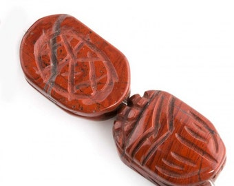Carved red jasper scarab beads, carved both sides. 18x13mm, package of 2. b4-jas257(e)