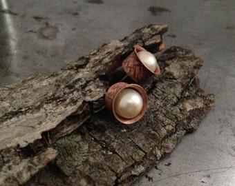 Handmade pearl earrings, hand forged copper cup, stud earrings