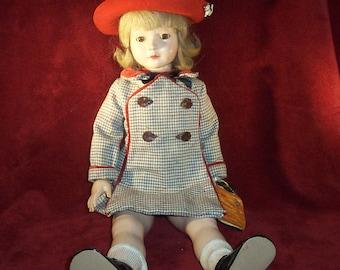 "Rare Dewees Cochran American Children 21"" Antique Composition Doll GLORIA ANN by Effanbee"