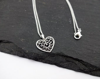 Heart Charm Necklace, Heart Necklace, Silver Plated Chain, Heart Jewellery, Heart Gift, Chain Necklace, Love Necklace, Love Jewellery