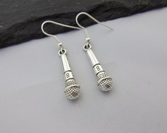 Microphone Earrings, Music Earrings, Music Jewellery, Charm Earrings, Musical Gift, Music Gift, Singer, Gifts, Jewelry