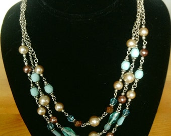 Triple Strand Turquoise and Pearl Beads, Beaded Drop Necklace