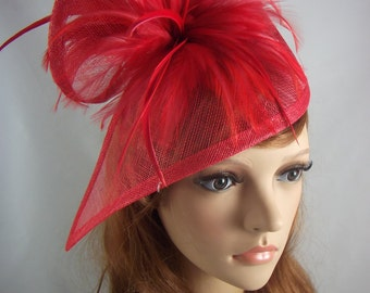 Red Sinamay & Feathers Twist Fascinator - Hat Occasion Wedding Races