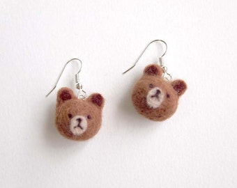 Needle Felted Brown Bear Earrings - Felted Bear Earrings - Felt Bear Earrings