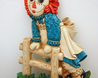 Vintage 1977 Raggedy Ann and Andy Trademarked The Bobbs Merrill Company - Raggedy Ann Wall Hanging