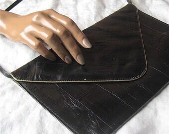 Envelope Purse - Vintage Black and Gold Clutch with Strap - Cash / ID Purse - Thin Handbag / Shoulder Bag - Fold Over Purse, Medium Drop