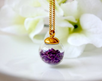 Orb / necklace / purple / Lavender Necklace, Natural Dried Flower, Real Flower Jewelry, Terrarium Necklace, Bridesmaid Gift, gift for her